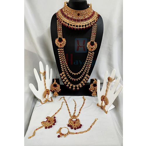 Red Beads LCT Stones Heavy Bridal Set _Hayagi(Pune)