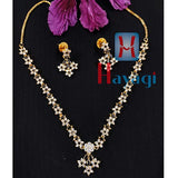 White and Black Stones Designer AD Necklace Set _Hayagi(Pune)
