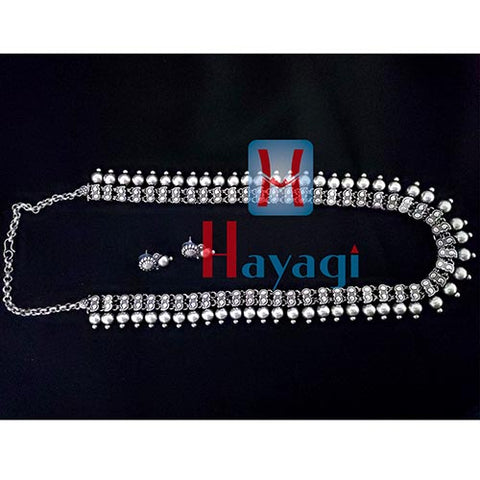 Silver Oxidized Long Necklace Round Shape Design Hayagi-Pune
