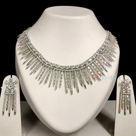 Wedding Wear Rhodium Fixed Stones Necklace Set_Hayagi(Pune)