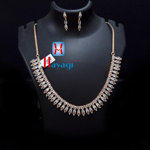 Rose Gold White Stone AD Designer Necklace Online_Hayagi(Pune)