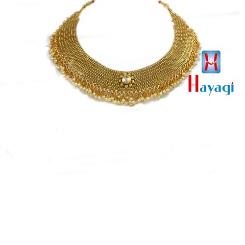 Necklace Antique Finish Patti Necklace Moti Droplet_Hayagi(Pune)