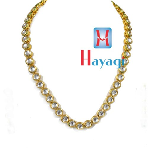 Necklace Single Line Kundan Green Droplet_Hayagi(Pune)