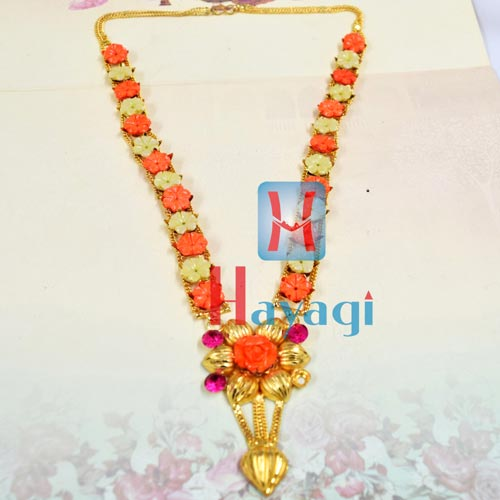 Haar Hibiscus Flower Design Necklace for Ganesh Ganapati _Hayagi(Pune)
