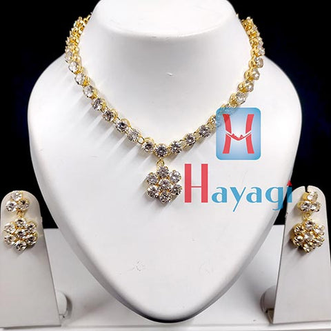White AD Stones Necklace Set