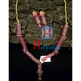Ruby Stones Designer Necklace Set AD Flower Design _Hayagi(Pune)