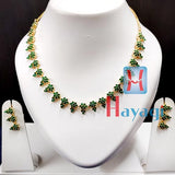 AD Necklace Set Emerald Green Stones -Hayagi(Pune)