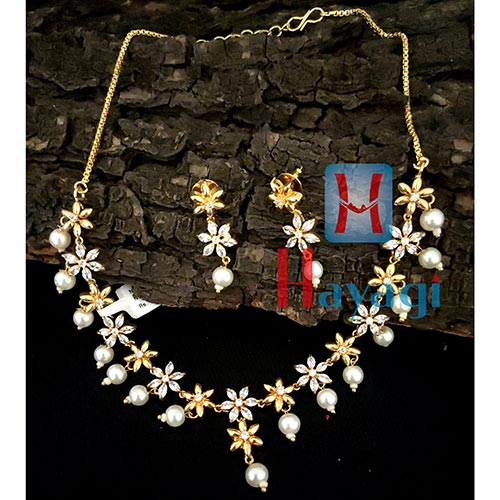 White AD Stones Necklace Set -Hayagi(Pune)