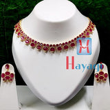 Unique Designer Ruby Stones Necklace AD Set-Hayagi(Pune)