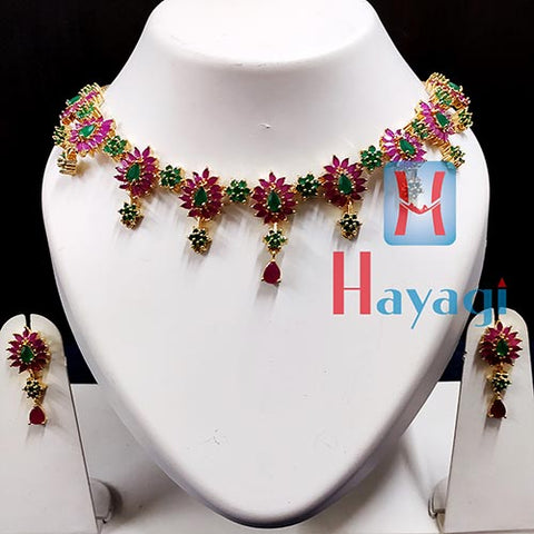 Ruby and Emerald Green Stones Necklace Set -Hayagi(Pune)