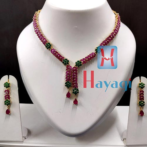 Ruby and Emerald Stones Necklace Set -Hayagi(Pune)