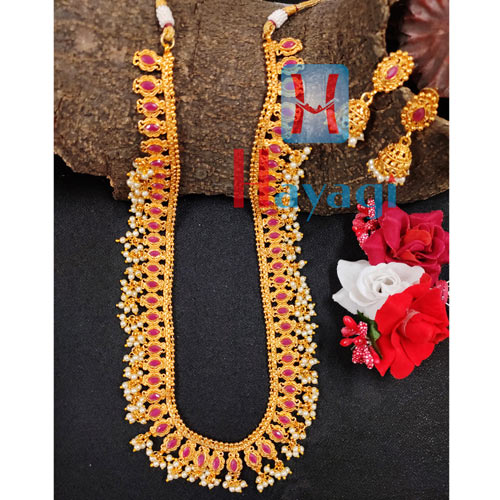 Long Necklace Maroon Colour with semi Precious white Droplet_Hayagi(Pune)