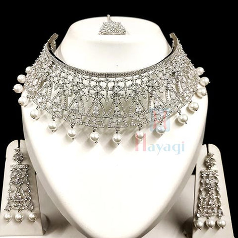 Specially Designed Rhodium Bridal Set_Hayagi(Pune)