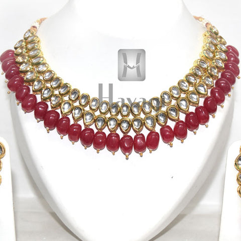 Kundan White Gold Plated Pink Beads Bridal Set Online -Hayagi