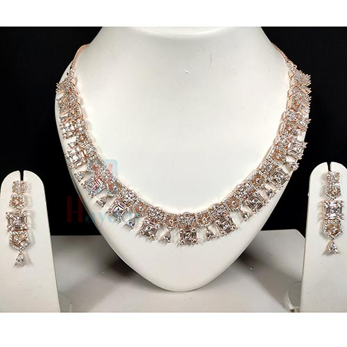 Bridal Necklace Set In Rose Gold Finish Decorated With AD Stones -Hayagi(Pune)
