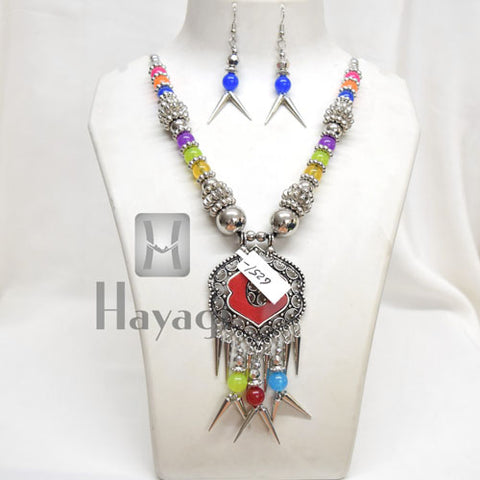 Silver Oxidized Necklace Earring Pendant Navratri Jewellery - Hayagi
