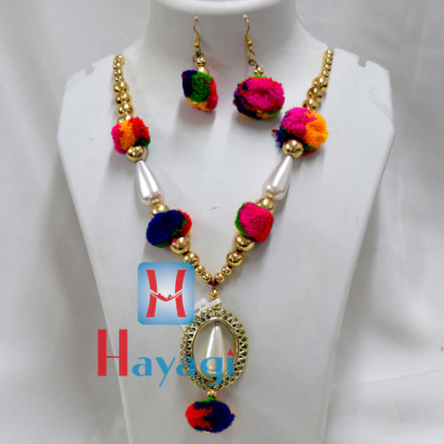 Multicolour Beads Thread Set Fashionable necklace Buy Online - Hayagi