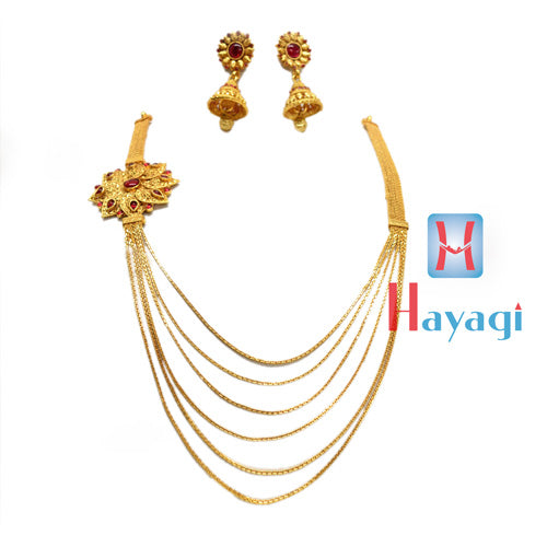 Gold Finish Necklace  6 strand chain, Flower Design_Hayagi