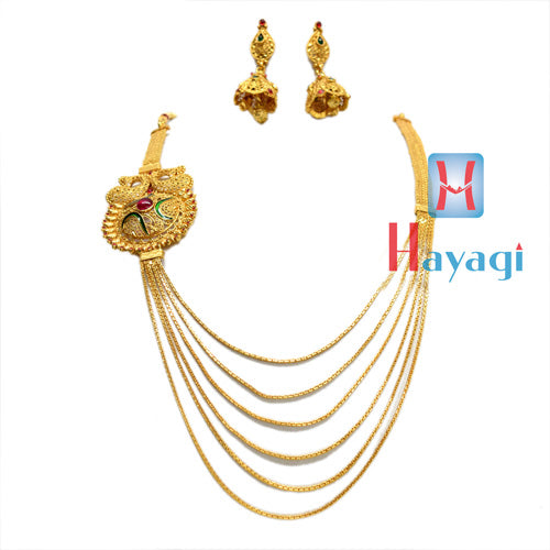 Gold Finish Necklace  6 strand chain,Multicolour Flower Design-Hayagi