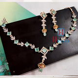 American Diamond Necklace Mint Green Stone Studded _Hayagi(Pune)