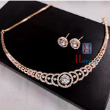 Rose Gold Choker Bridal Designer Necklace Set _Hayagi(Pune)