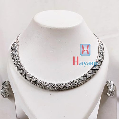 Silver Finish Rhodium Choker Real Diamond Resembling Design _Hayagi(Pune)