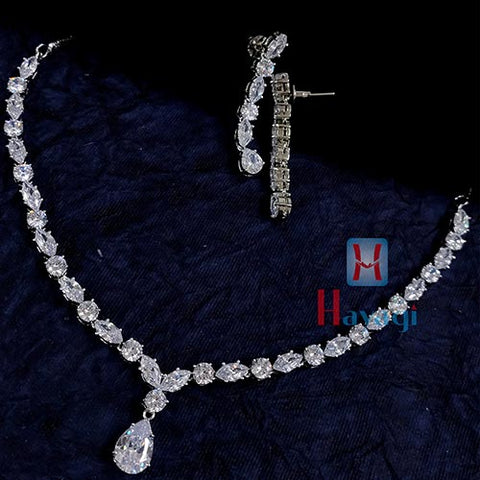 White Stone Studded Single Line Necklace Set With Long Earrings _Hayagi(Pune)