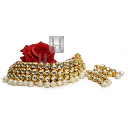 Kundan Choker, Kundan Necklace in White Color -Hayagi