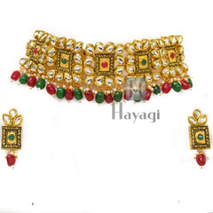 Kundan Pearl Necklace, red & green color stones  Buy Online-Hayagi