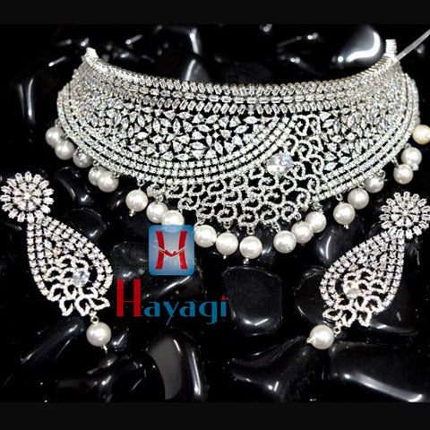 AD Necklace,Silver Colour Plating & White Droplet_Hayagi(Pune)
