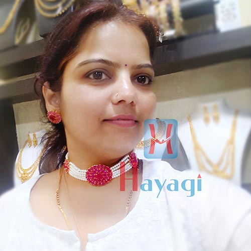 Pendant Pearl Choker Necklace Set Online India-Hayagi Pune