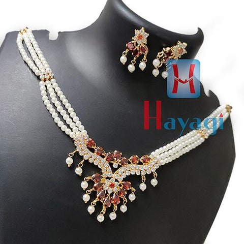Pearl Choker Brown White Stone Necklace Set Online India-Hayagi