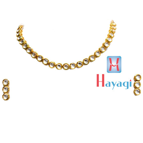 Circle Design Single Line Kundan Necklace Set - Hayagi
