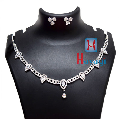 Silver Colour Necklace With White Stones Jewellery - Hayagi