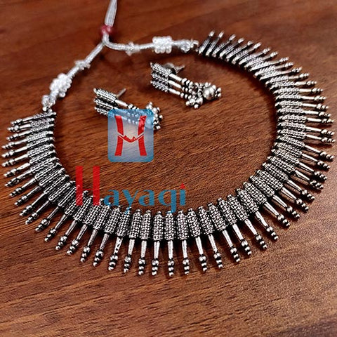South Indian Design Short Oxidized Necklace _Hayagi(Pune)