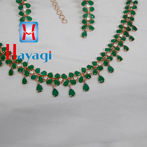 AD Necklace,Green Petal Flower Stone Design Online - Hayagi