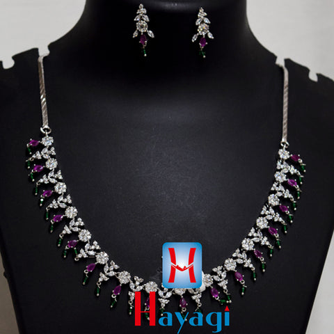 Silver Plated Necklace,Green Pearl Pink Stones Online - Hayagi