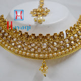 Necklace LCT Stones Gold Polish Moti Design Bridal Set Online_Hayagi