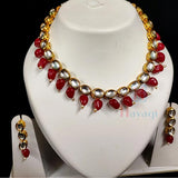 Kundan Maroon Beads Short Necklace, Buy Online_Hayagi