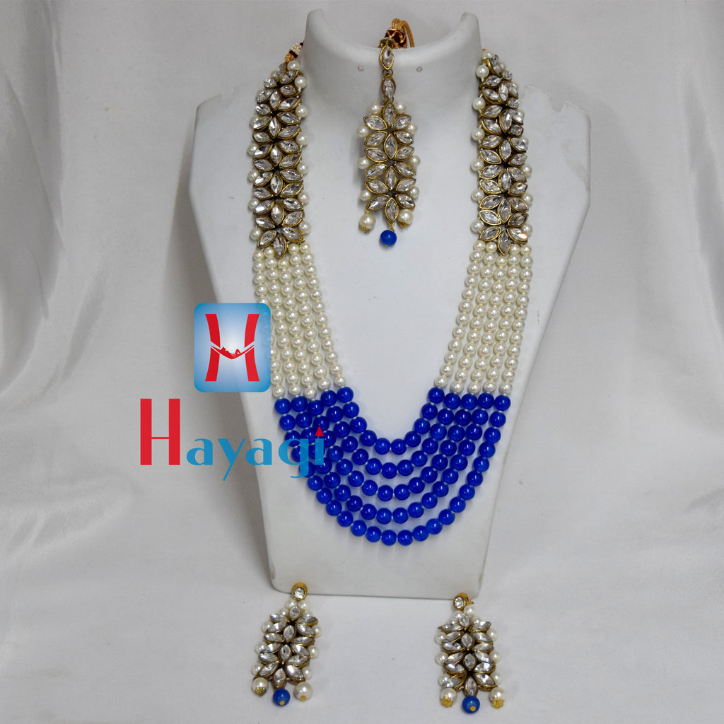White & Blue Beads Moti Pearl Set Fashionable Buy Online - Hayagi