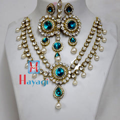 AD Necklace,Blue and White Stone Design Online - Hayagi