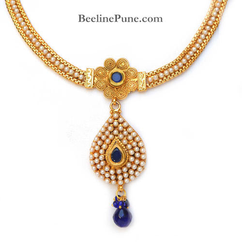 Beautiful Pearl Studded Necklace Set Online India, Blue-Hayagi - Beeline  - 2