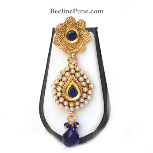 Beautiful Pearl Studded Necklace Set Online India, Blue-Hayagi - Beeline  - 3