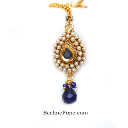 Beautiful Pearl Studded Necklace Set Online India, Blue-Hayagi - Beeline  - 4