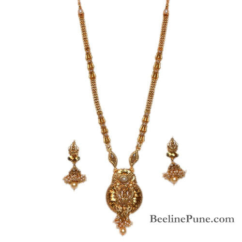 Traditional Long Temple Laxmi Necklace Set Online-Hayagi - Beeline  - 1