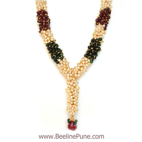 Chandni Pearl Necklace Woven in Green Marron Pearl - Hayagi - Beeline  - 2