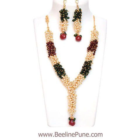 Chandni Pearl Necklace Woven in Green Marron Pearl - Hayagi