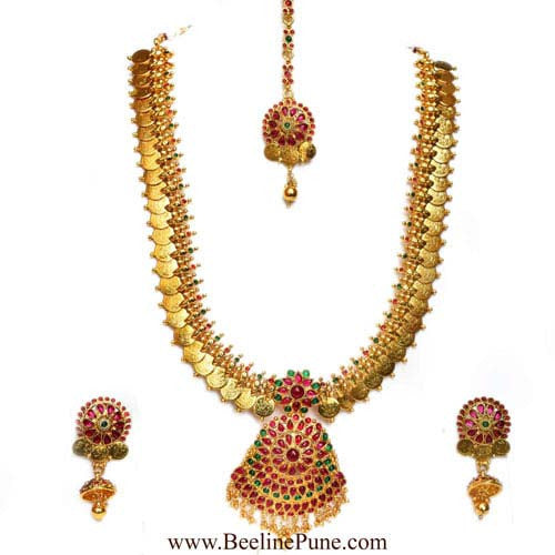 Bridal Laxmi Temple Long Necklace Set Online India-Hayagi - Beeline  - 1
