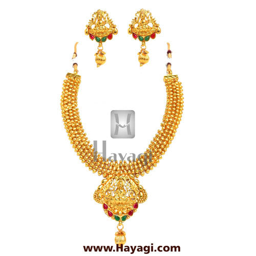 Temple Laxmi God Pendant Real Look Traditional Necklace Set-Hayagi - Beeline  - 1