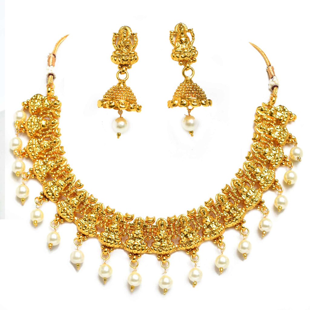 Antique Necklace Set, Laxmi Temple Jewellery, Traditional_Hayagi